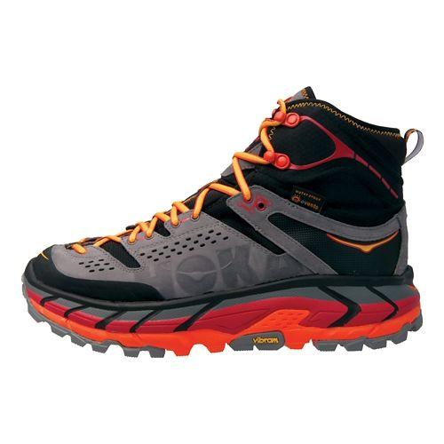 Mens Hoka One One Tor Ultra Hi WP Hiking Shoe - Black/Red 11