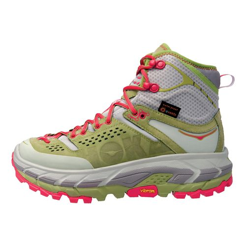 Womens Hoka One One Tor Ultra Hi WP Hiking Shoe - Green/Pink 8.5