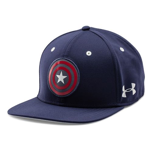 Mens Under Armour Avengers Captain America Snap Back Cap Headwear - Midnight Navy/Red