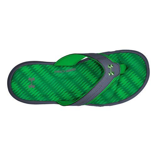 Mens Under Armour Ignite Illusion T Sandals Shoe - Graphite/Green 11