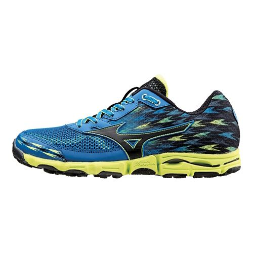 Mens Mizuno Wave Hayate 2 Trail Running Shoe - Blue/Lime 11.5