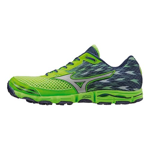 Mens Mizuno Wave Hayate 2 Trail Running Shoe - Blue/Lime 12