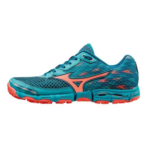 Womens Mizuno Wave Hayate 2 Trail Running Shoe - Blue/Coral 9.5