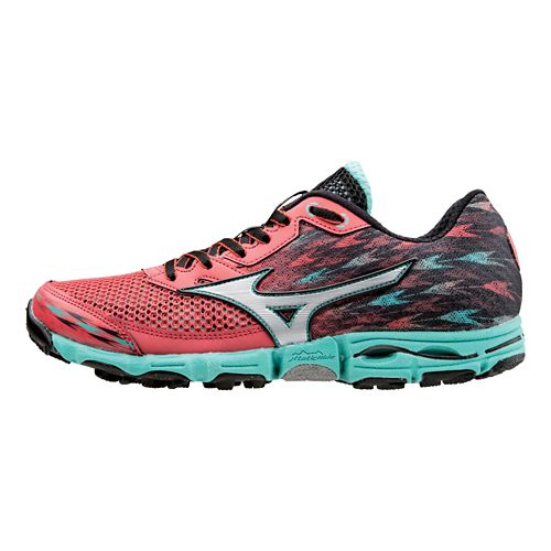 Womens Mizuno Wave Hayate 2 Trail Running Shoe - Berry/Teal 10.5