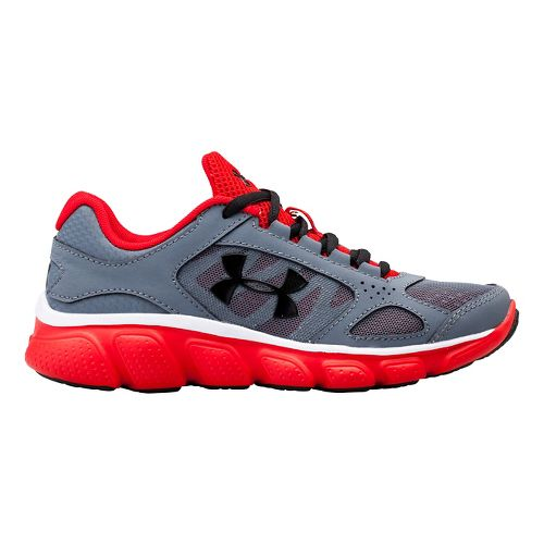 Under Armour Boys BPS Assert V Running Shoe - Gravel/Red 1.5Y