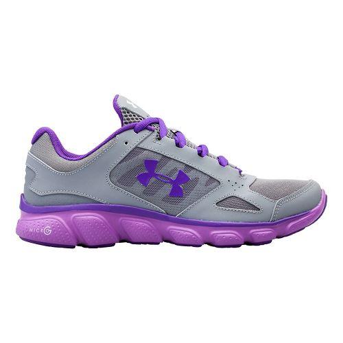Womens Under Armour Micro G Assert V Running Shoe - Steel/Exotic Bloom 6.5
