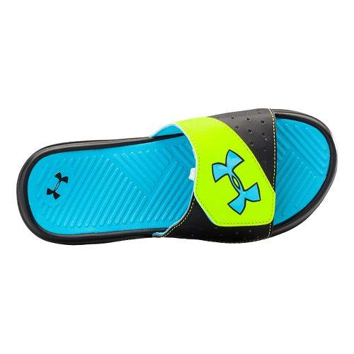 Kids Under Armour Playmaker V SL Sandals Shoe - Black/Island Blues 5