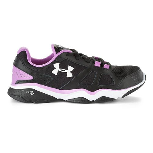 Womens Under Armour Micro G Strive V Running Shoe - Black/Exotic Bloom 10