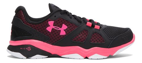 Womens Under Armour Micro G Strive V Running Shoe - Black/Harmony Red 8