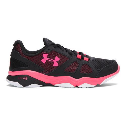 Womens Under Armour Micro G Strive V Running Shoe - Black/Exotic Bloom 10.5