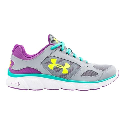 Kids Under Armour Assert V Running Shoe - Steel/Purple 3.5Y