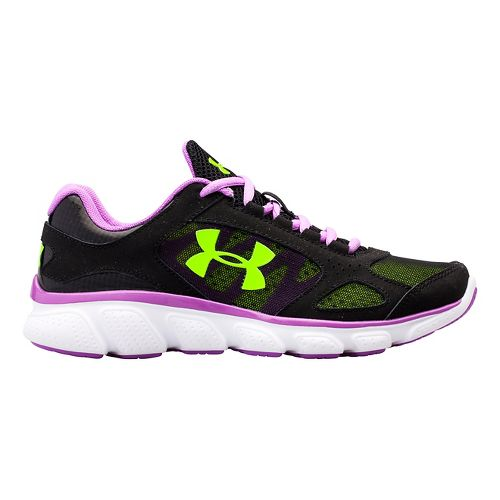 Kids Under Armour GGS Assert V Running Shoe - Black/Exotic Bloom 4