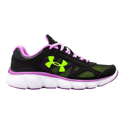 Under Armour Girls Assert V Running Shoe - Black/Exotic Bloom 1.5Y