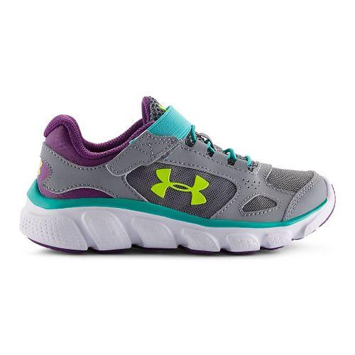 Kids Under Armour Assert V AC Running Shoe - Steel/Purple 1.5Y