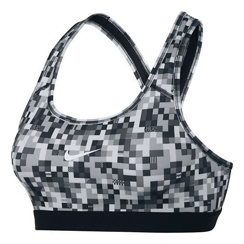 Womens Nike Pro Classic Glitch Sports Bra - Black/Cool Grey L