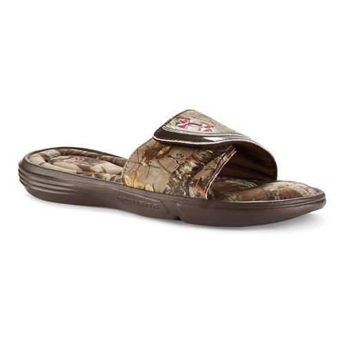 Womens Under Armour Ignite Camo VII SL Sandals Shoe - Cleveland Brown 7