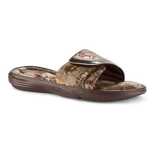 Womens Under Armour Ignite Camo VII SL Sandals Shoe - Cleveland Brown 8