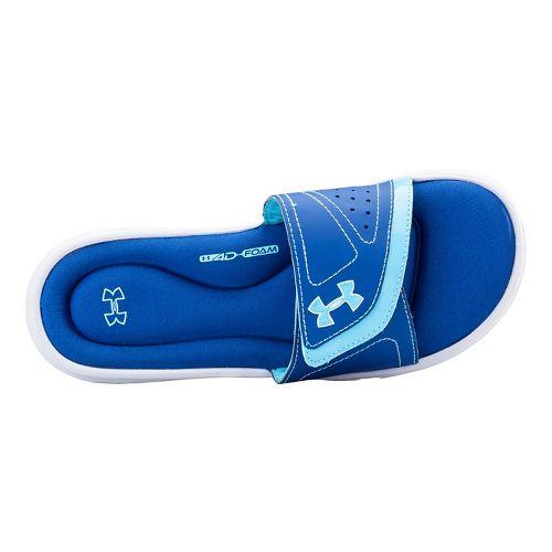 Womens Under Armour Ignite VII SL Sandals Shoe - White/American Blue 6