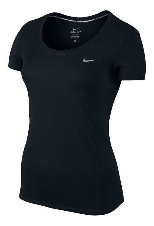 Womens Nike Dri-Fit Contour Short Sleeve Technical Tops - Black S