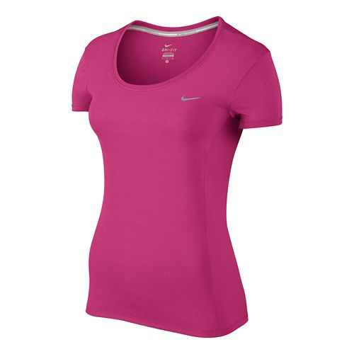 Womens Nike Dri-Fit Contour Short Sleeve Technical Tops - Vivid Pink L
