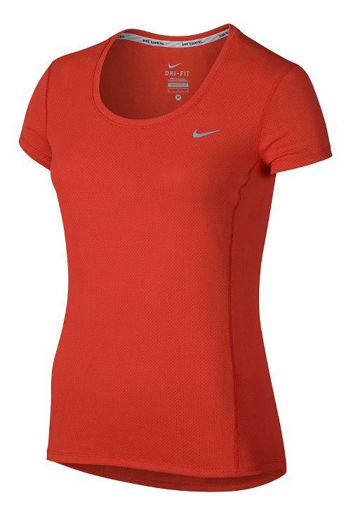 Womens Nike Dri-Fit Contour Short Sleeve Technical Tops - Light Crimson S