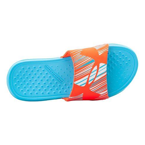 Kids Under Armour Strike Wind SL Sandals Shoe - Surfs Up/After Burn 12