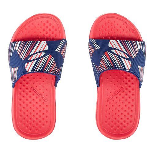 Kids Under Armour Strike Wind SL Sandals Shoe - Pink Shock/Blue 11