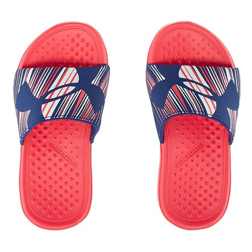 Kids Under Armour Strike Wind SL Sandals Shoe - Pink Shock/Blue 3