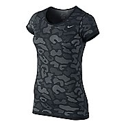 Womens Nike Dri-Fit Knit Short Sleeve Contrast Top Technical Tops - Black/Cool Grey M