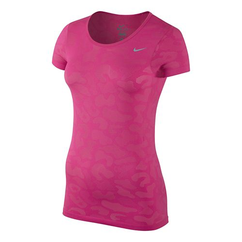 Womens Nike Dri-Fit Knit Short Sleeve Contrast Top Technical Tops - Vivid Pink L