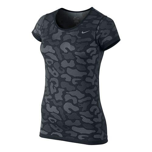 Womens Nike Dri-Fit Knit Short Sleeve Contrast Top Technical Tops - Vivid Pink XL