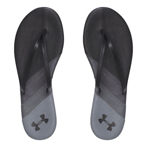 Womens Under Armour LakeShore DR T Sandals Shoe - Black/Sliver 8