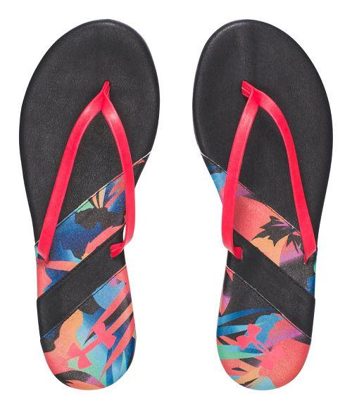 Womens Under Armour LakeShore DR T Sandals Shoe - Black/Coral 10
