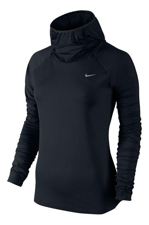 Womens Nike Element Hoody Long Sleeve No Zip Technical Tops - Black M