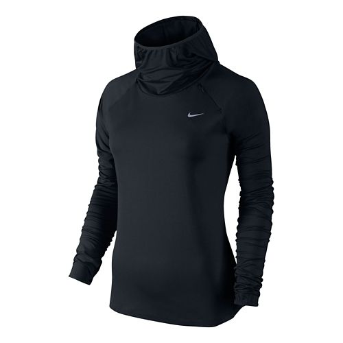Womens Nike Element Hoody Long Sleeve No Zip Technical Tops - Black L