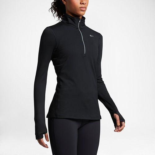 Womens Nike Element Long Sleeve Half Zip Non-Technical Tops - Black XL