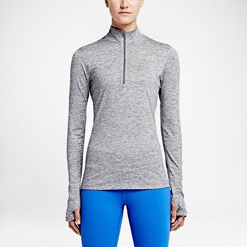 Womens Nike Element Long Sleeve Half Zip & Hoodies Technical Tops - Dark Grey L