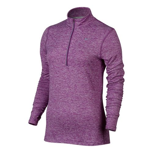 Womens Nike Element Long Sleeve Half Zip & Hoodies Technical Tops - Purple Dusk L ...