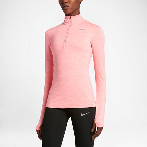 Womens Nike Element Long Sleeve Half Zip & Hoodies Technical Tops - Bright Melon S ...