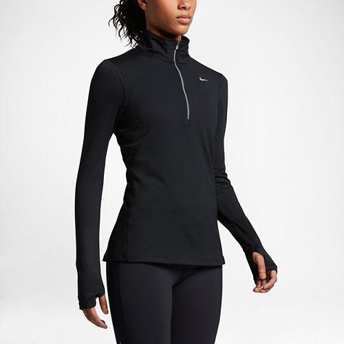 Womens Nike Element Long Sleeve Half Zip Non-Technical Tops - Black M
