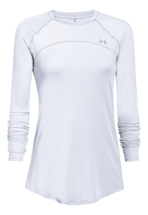 Womens Under Armour Sunblock 50 Long Sleeve Technical Tops - White M