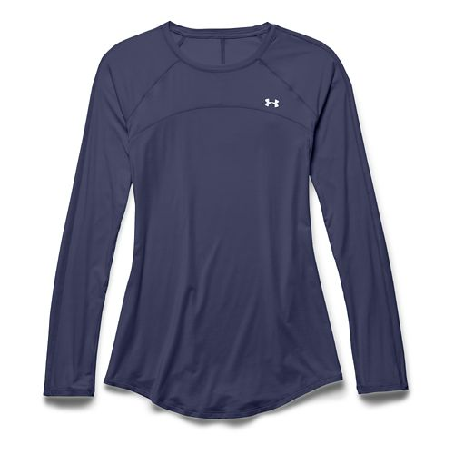 Womens Under Armour Sunblock 50 Long Sleeve No Zip Technical Tops - Faded Ink M ...