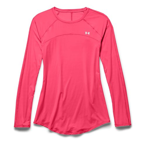 Womens Under Armour Sunblock 50 Long Sleeve No Zip Technical Tops - Pink Shock XS ...