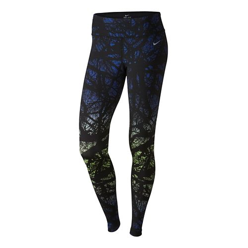 Womens Nike Printed Engineered Full Length Tights - Deep Royal Blue L
