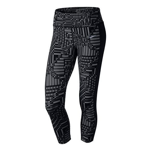 Womens Nike Printed Epic Lux Crop Full Length Tights - Dark Grey/Black L