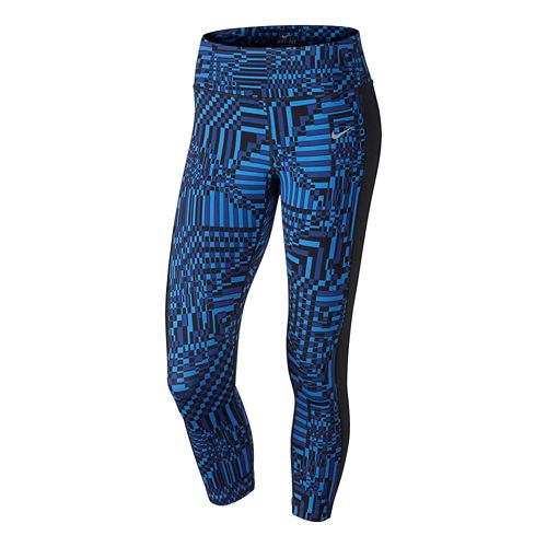 Womens Nike Printed Epic Lux Crop Full Length Tights - Royal/Black L