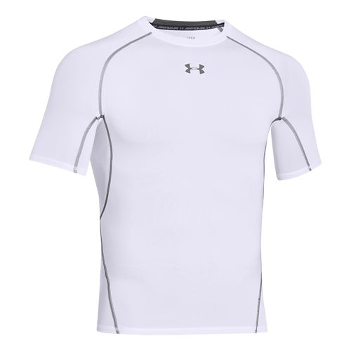 Mens Under Armour HeatGear Compression T Short Sleeve Technical Tops - White XXL
