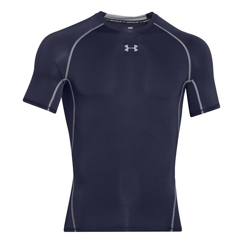 Mens Under Armour HeatGear Compression T Short Sleeve Technical Tops - Midnight Navy L