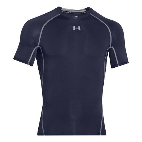 Mens Under Armour HeatGear Compression T Short Sleeve Technical Tops - Midnight Navy XL
