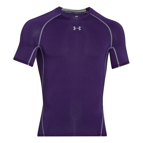 Mens Under Armour HeatGear Compression T Short Sleeve Technical Tops - Purple 3XL